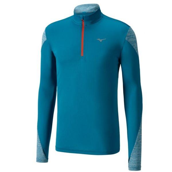 Mizuno ALPHA LS HZ niebieski L - Koszulka do biegania męska
