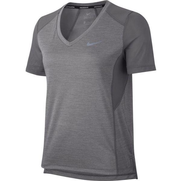 Nike MILER TOP VNECK szary M - Koszulka do biegania damska