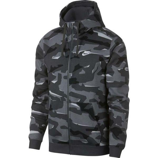 Nike NSW CLUB CAMO HOODIE FZ BB szürke S - Férfi kapucnis pulóver