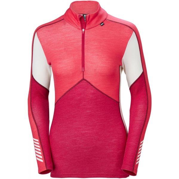 Helly Hansen LIFA MERINO 1/2 ZIP rózsaszín XL - Női póló