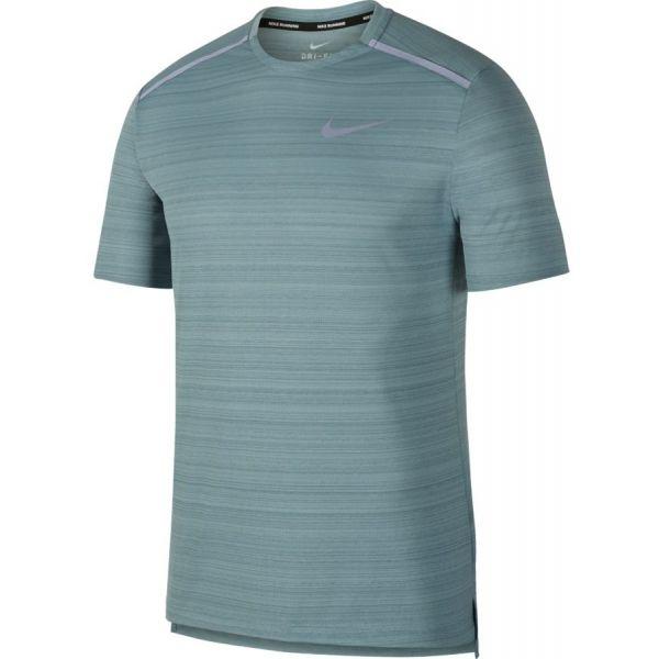 Nike NK DRY MILER TOP SS tmavě šedá S - Pánské běžecké triko