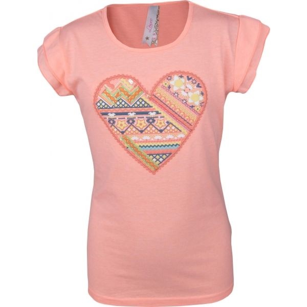 Lewro SOFI světle růžová 140-146 - Dívčí triko s volánkovým rukávem