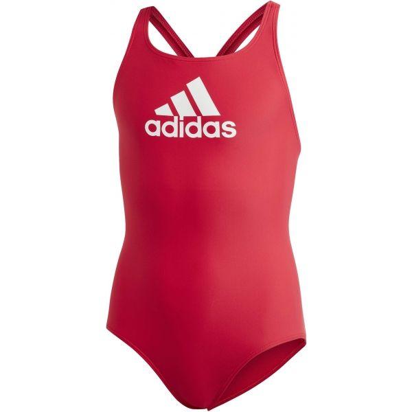 adidas BADGE OF SPORTS SWIMSUIT GIRLS červená 164 - Dívčí plavky