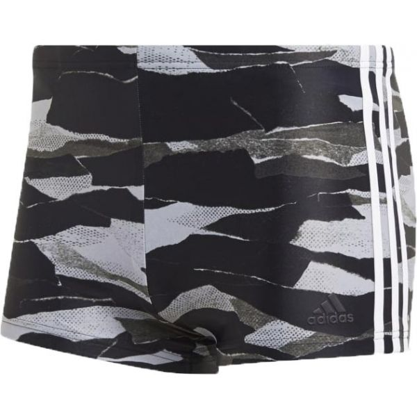 adidas FITNESS 3-STRIPES GRAPHIC SWIM BOXER - Pánske plavecké šortky