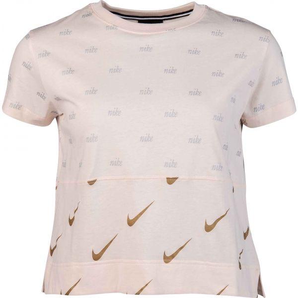 Nike NSW TOP SS METALLIC világos rózsaszín L - Női póló