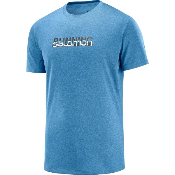 Salomon AGILE GRAPHIC TEE M modrá S - Pánské běžecké tričko