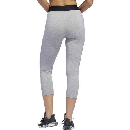 Women's sports tights - adidas D2M COTTON HI-RISE 3STRIPE 3/4 TIGHT - 3