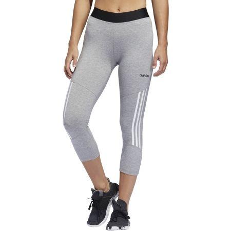 Women's sports tights - adidas D2M COTTON HI-RISE 3STRIPE 3/4 TIGHT - 5