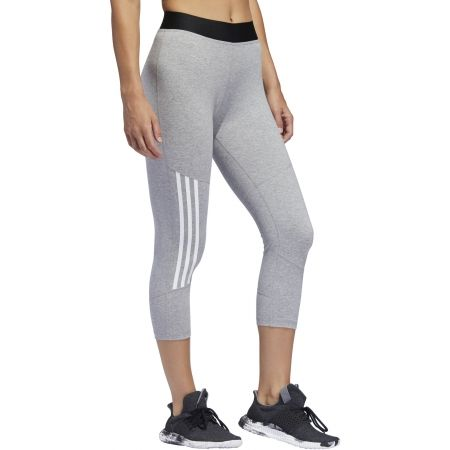 Women's sports tights - adidas D2M COTTON HI-RISE 3STRIPE 3/4 TIGHT - 4