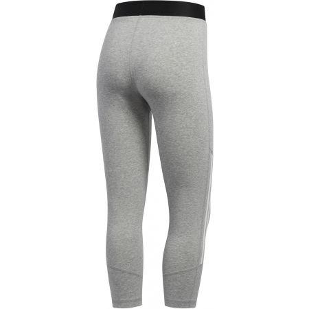 Women's sports tights - adidas D2M COTTON HI-RISE 3STRIPE 3/4 TIGHT - 2