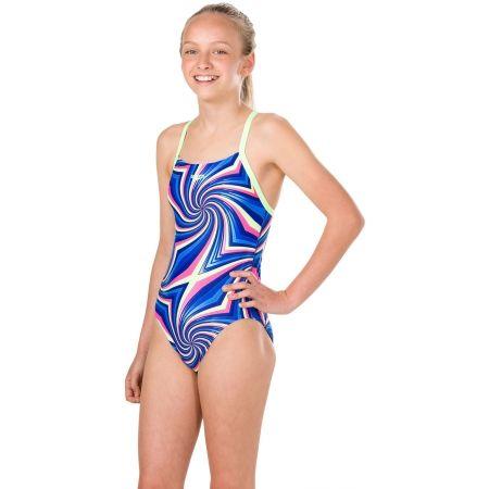 Dievčenské plavky - Speedo ALLOVER DIGITAL THINSTRAP CROSSBACK - 2