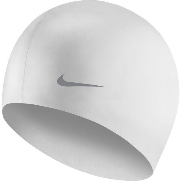 Nike SOLID SILICONE YOUTH biały NS - Czepek pływacki dziecięcy