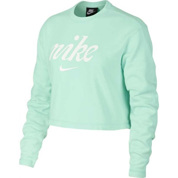 Nike NSW CREW CROP WSH zelená XS - Dámská mikina
