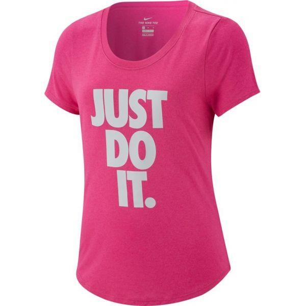 Nike TEE LEG SCOOP JDI růžová XL - Dívčí sportovní triko