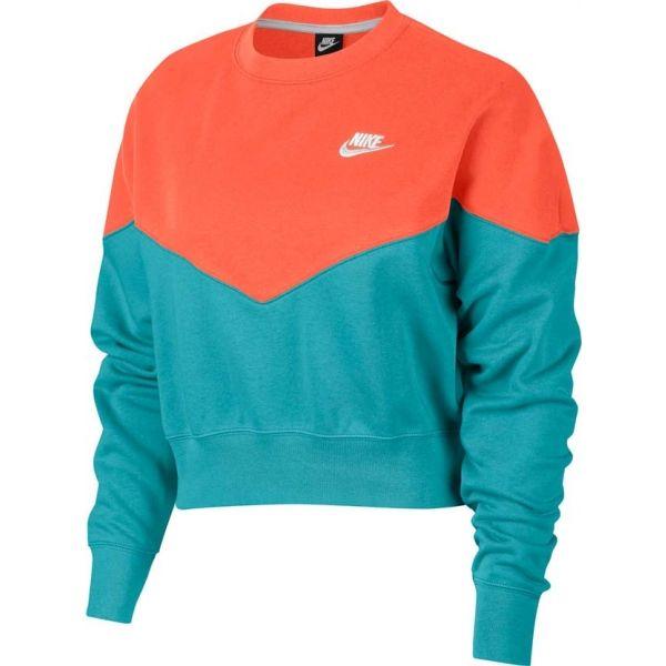 Nike NSW HRTG CREW FLC oranžová XS - Dámská mikina