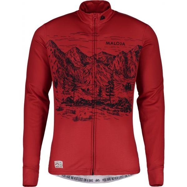 Maloja SERLASM. LONGSLEEVE 1/2 červená XL - Cyklistický dres