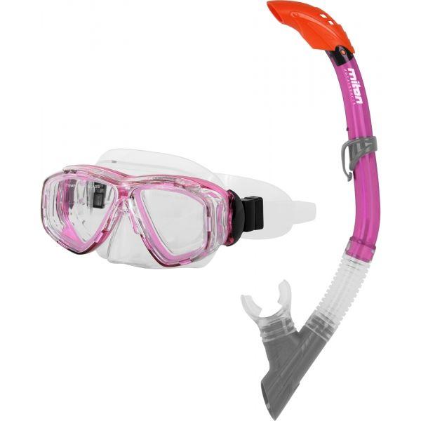 Miton PONTUS LAKE różowy NS - Zestaw do nurkowania juniorski