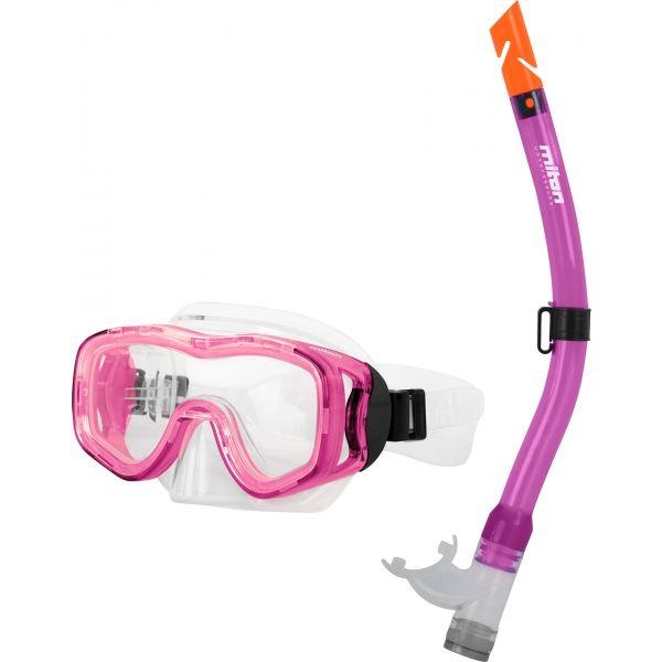 Miton PROTEUS RIVER różowy NS - Zestaw do nurkowania juniorski