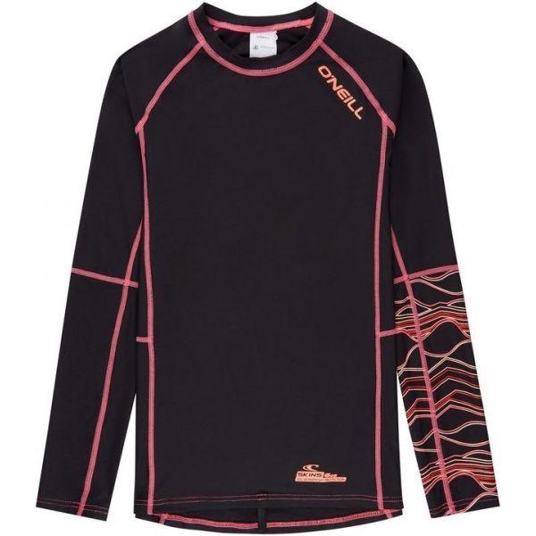 O'Neill PG LONG SLEEVE SKINS czarny 16 - Koszulka dziewczęca z filtrem UV