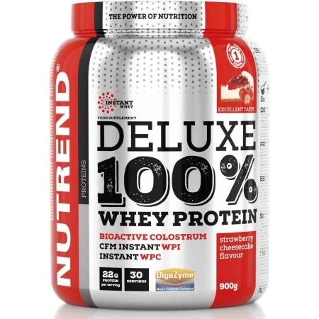 Nutrend DELUXE 100% WHEY 900G JAHODOVÝ CHEESECAKE - Proteín