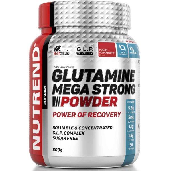 Nutrend GLUTAMINE MEGA STRONG POWDER 500G PUNČ + BRUSINKA  NS - Aminokyseliny