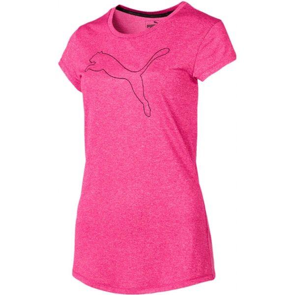 Puma ACTIVE LOGO HEATHER TEE růžová S - Dámské sportovní triko