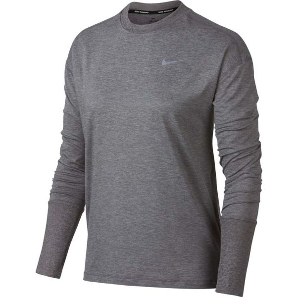 Nike ELMNT TOP CREW szary S - Koszulka do biegania damska