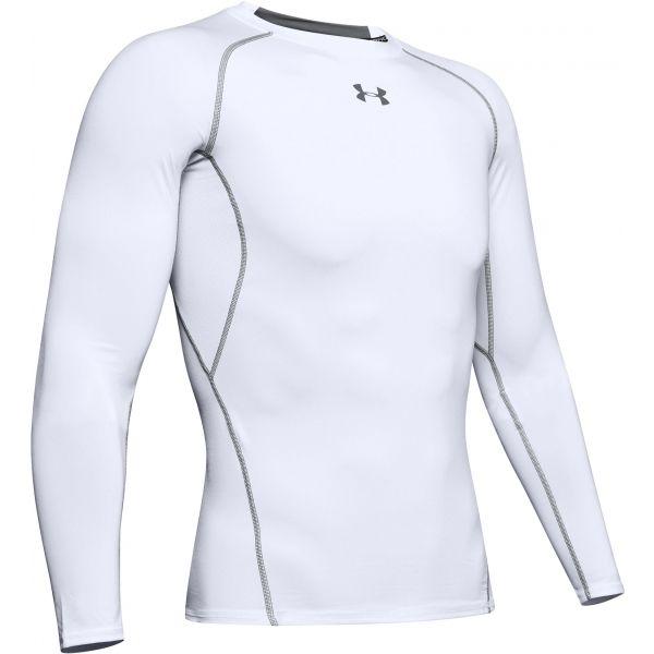 Under Armour HG ARMOUR LS biela S - Pánske tričko s dlhým rukávom