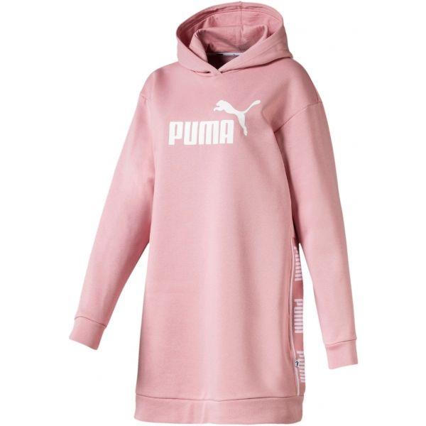 Puma AMPLIFIED DRESS FL růžová M - Dámská prodloužená mikina