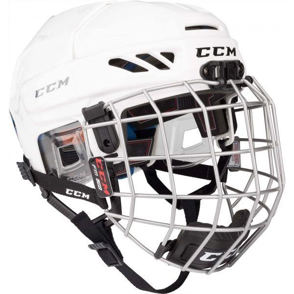 CCM FITLITE 3DS COMBO JR bílá NS - Dětská hokejová helma