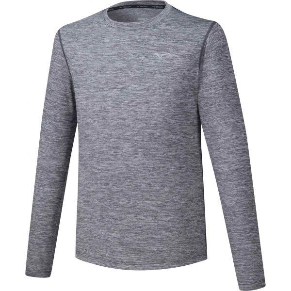 Mizuno IMPULSE CORE LS TEE sivá XL - Pánske bežecké tričko s dlhým rukávom