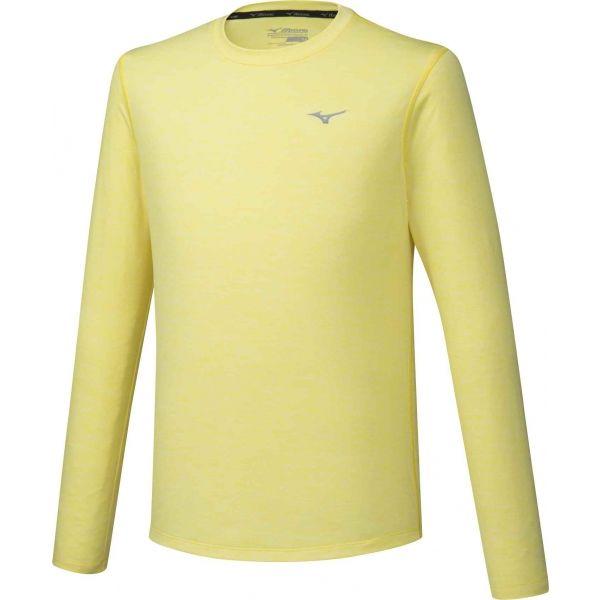 Mizuno IMPULSE CORE LS TEE žlutá L - Pánské běžecké triko s dlouhým rukávem