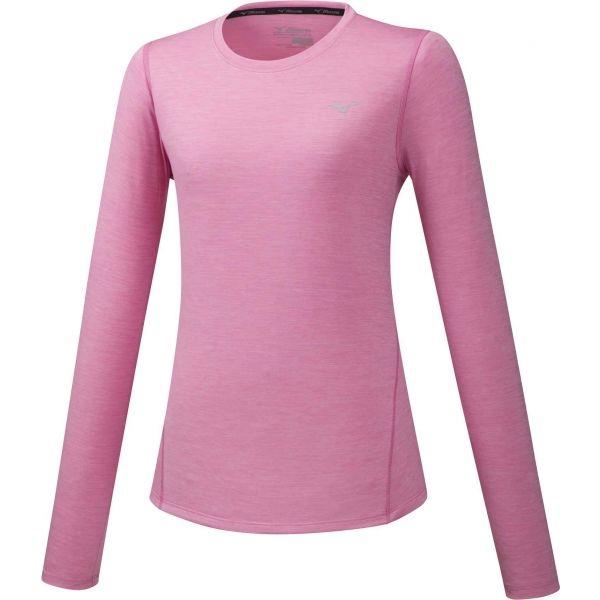 Mizuno IMPULSE CORE LS TEE růžová XL - Dámské běžecké triko s dlouhým rukávem