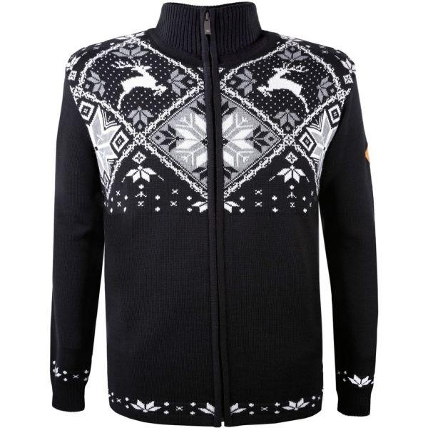 Kama MERINO SVETR 4055 černá XL - Celopropínací pletený svetr