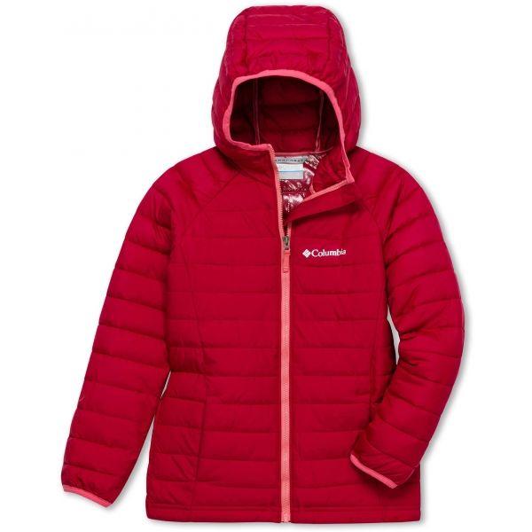 Columbia POWDER LITE GIRLS HOODED JACKET červená S - Dívčí bunda