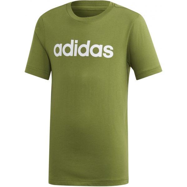 adidas ESSENTIALS LINEAR T-SHIRT zelená 116 - Chlapecké tričko