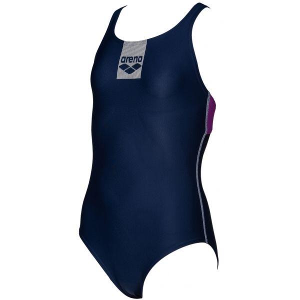 Arena G BASICS JR SWIM PRO BACK ONE PIECE tmavo modrá 116 - Dievčenské jednodielne plavky