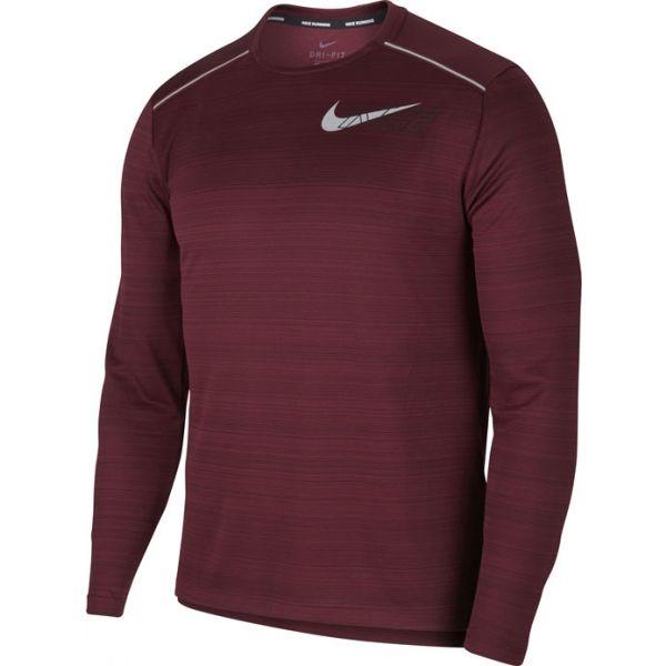 Nike DF MILER LS FLASH NV M vínová M - Pánské tričko s dlouhým rukávem