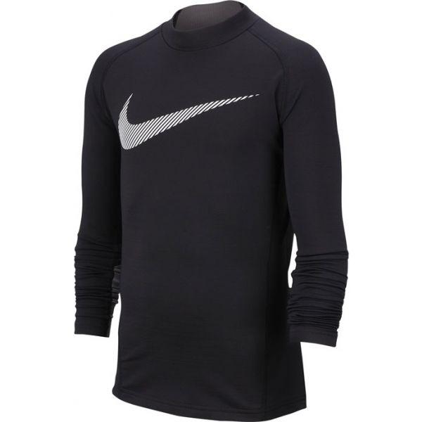 Nike NP LS THERMA MOCK GFX B fekete S - Fiús póló edzéshez
