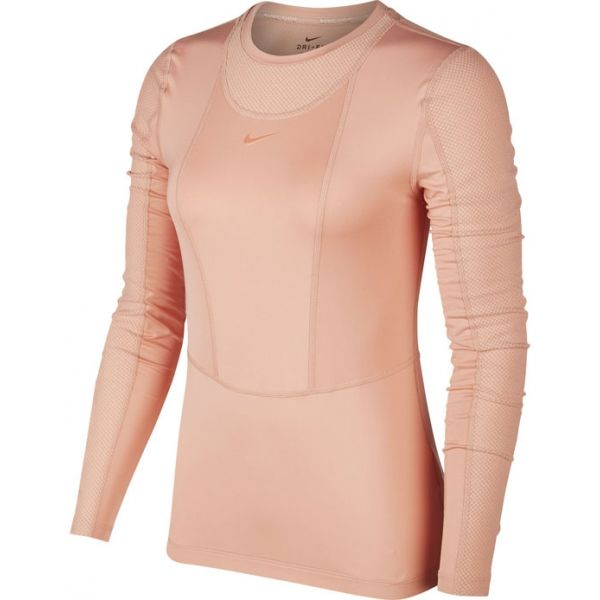 Nike NP LS WARM HOLLYWOOD TOP W oranžová L - Dámske tričko s dlhými rukávmi