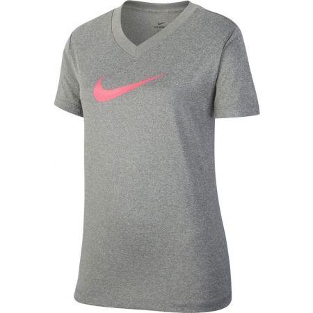 Dívčí tričko - Nike DRY TEE LEG VNECK SWOOSH G - 1