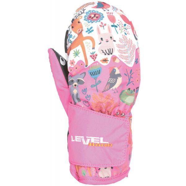 Level ANIMAL růžová 0 - Voděodolné celozateplené rukavice