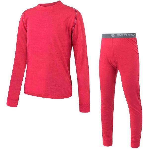 Sensor MERINO AIR SET JR rózsaszín 110 - Gyerek aláöltözet szett