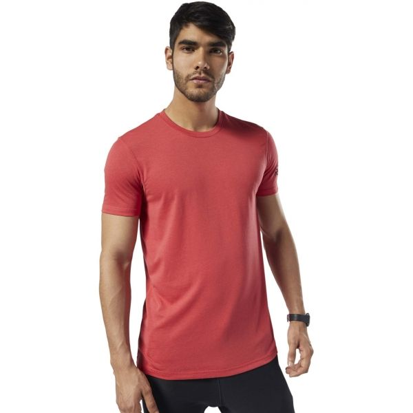 Reebok COMMERCIAL CHANNEL SHORT SLEEVE TEE červená 2XL - Pánské triko