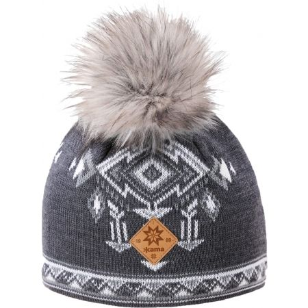 Kama A139-111 ČIAPKA MERINO BRMBOLEC - Dámska pletená čiapka