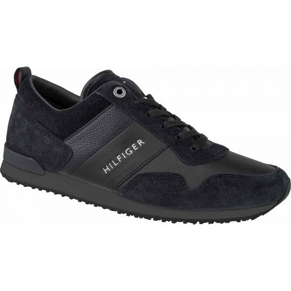 Tommy Hilfiger ICONIC LEATHER SUEDE MIX RUNNER čierna 45 - Pánska voľnočasová obuv
