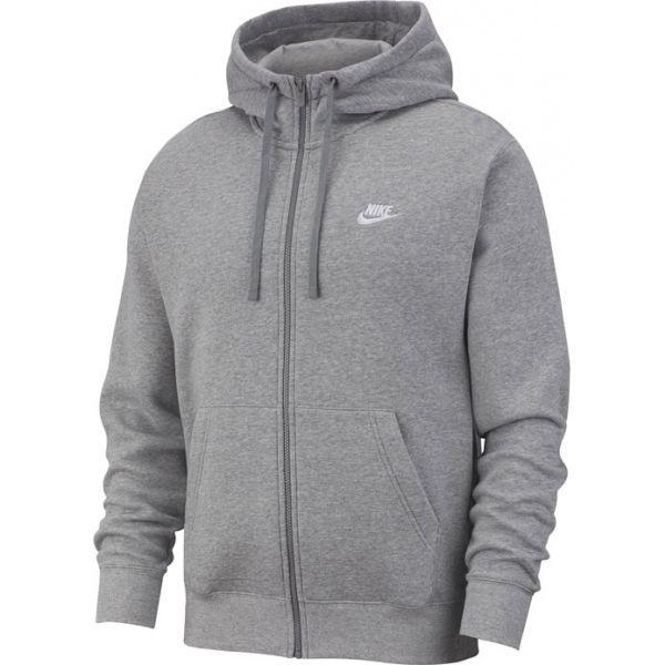 Nike NSW CLUB HOODIE FZ BB M szürke XL - Férfi pulóver