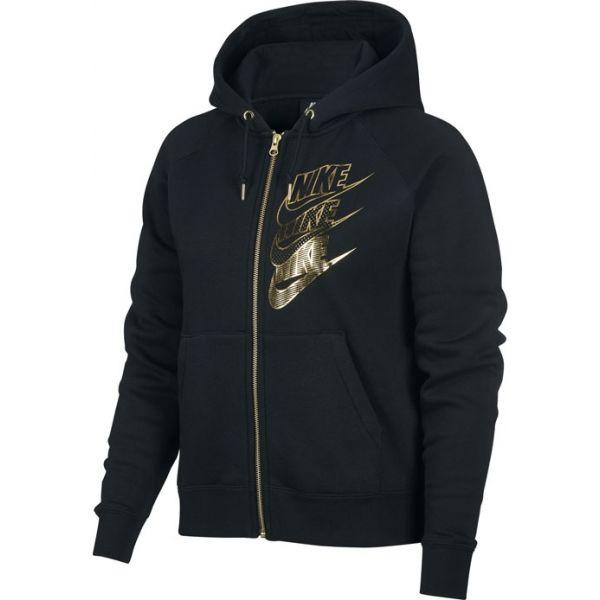 Nike NSW HOODIE FZ BB SHINE W černá XS - Dámská mikina