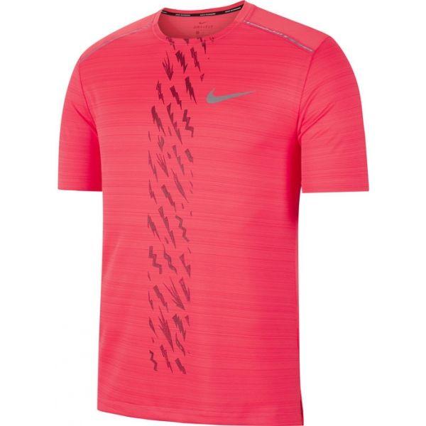 Nike DRY MILER SS EDGE GX PO M červená S - Pánské běžecké tričko
