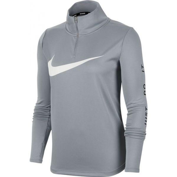Nike MIDLAYER QZ SWSH RUN W šedá M - Dámský běžecký top